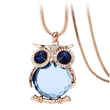 4 Colors Owl Necklace Box Chain Crystal Gold Plated Pendant Necklaces Trendy Statement Necklace Animal Jewelry