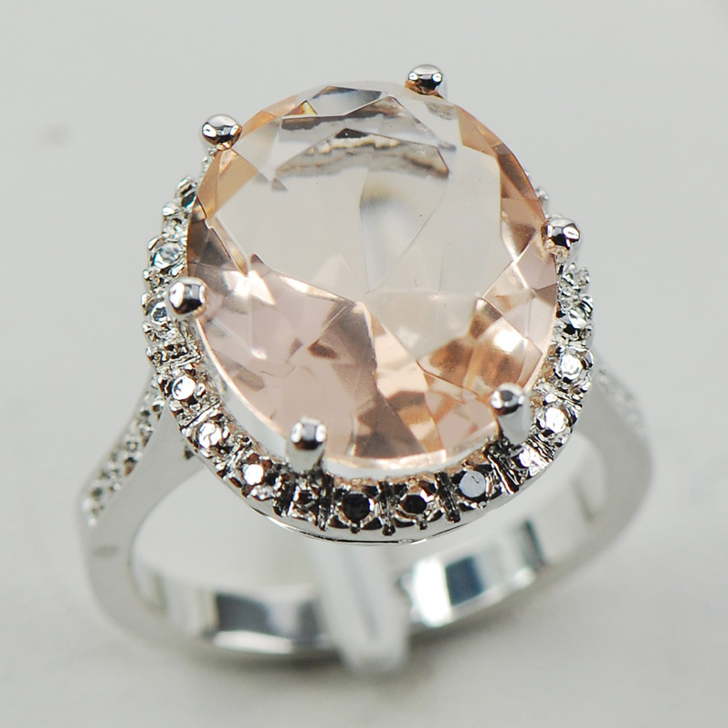 Fashion Big Sale Jewelry Morganite Crystal Rings for Women 925 Sterling Silve