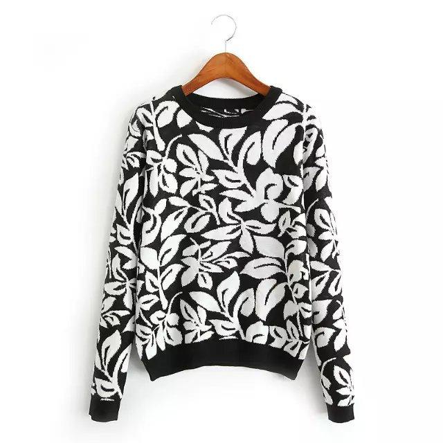 Qj40 мода женщин элегантный цветочный узор черный пуловер трикотаж свободного покроя ...