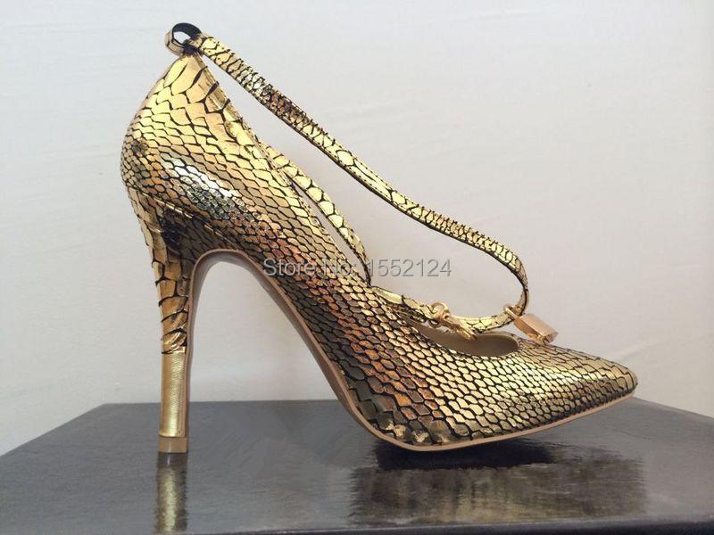Здесь можно купить  Fashion snakelike pattern buckle pointed toe sapatos femininos salto alto women shoes high heel lady genuine leather pumps  Обувь