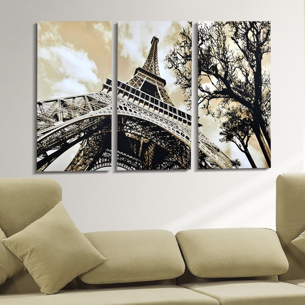 Free shipping canvas painting 3 panels wall art the eiffel for Eiffel tower decorations for the home
