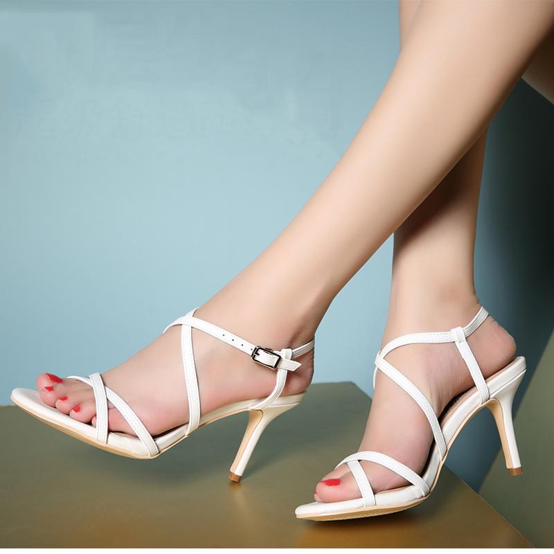 2015 Summer Sexy Fashion Stilettos High Heels Leather Sandals Black Open Toe Shoes Women Office Elegant High Quality<br><br>Aliexpress