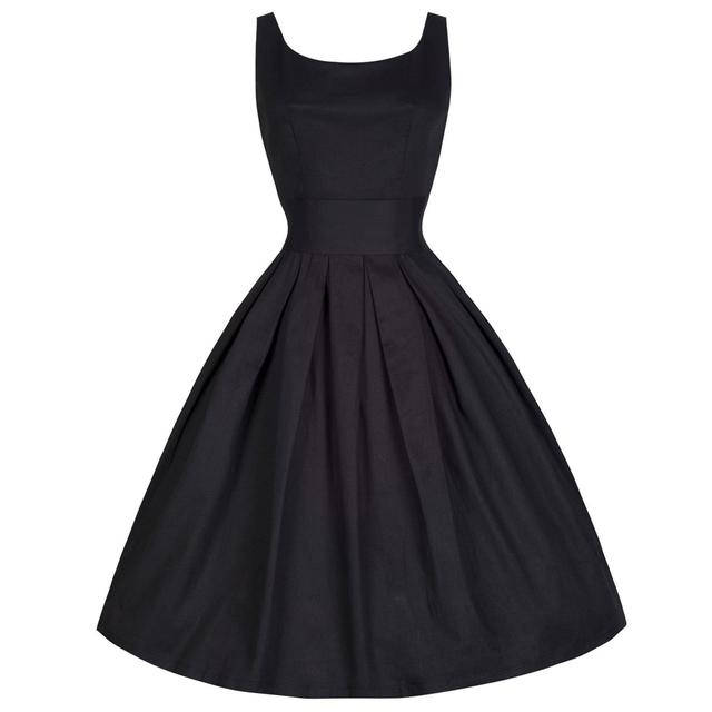 2016 контакт. Vestidos XS-4XL Большой размер женщины лето черный ретро свободного покроя ну вечеринку халат рокабилли 50 s старинные платья