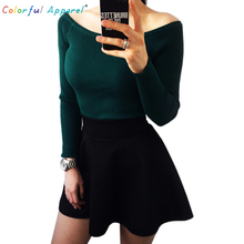 Colorful Apparel  Autumn and Winter basic Women Sweater slit neckline Strapless Sweater thickening sweater  CA111A(China (Mainland))