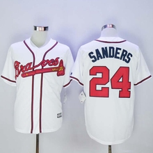 High Quality #24 Deion Sanders Braves Jersey White Home Gray Road Navy Blue Red Cream Baseball Jerseys(China (Mainland))