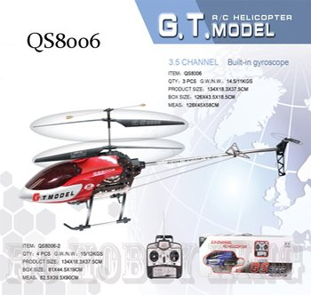 4pcs/lot Biggest QS8006 134cm 3.5ch Gyro metal frame 2 Speed Model rc helicopter LED lights 8006 RTF ready to fly