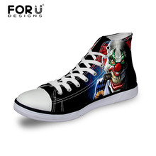 Cool Design 2016 Canvas Shoes Men Lace Up Flats Spring Autumn Male Casual Shoes Zapatillas Hombre High-Top Skull Pattern Shoes