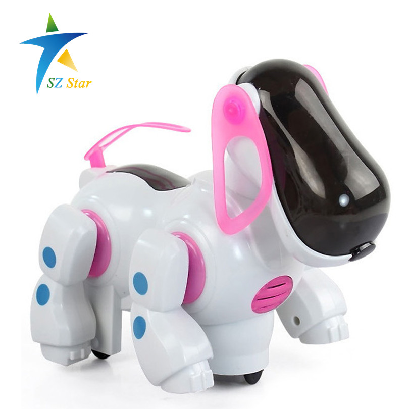 smart robot dog pets toy electric universal for kids children baby walking light music automatic steering rocking rotated swing(China (Mainland))