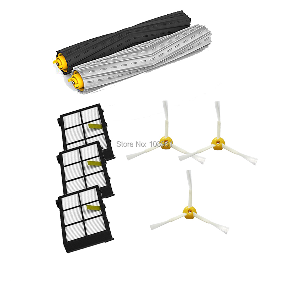 Tangle-Free Debris Extractor Set & 3* HEPA Filter & 3* Side Brushes Replacement For iRobot Roomba 800 series 870 880(China (Mainland))