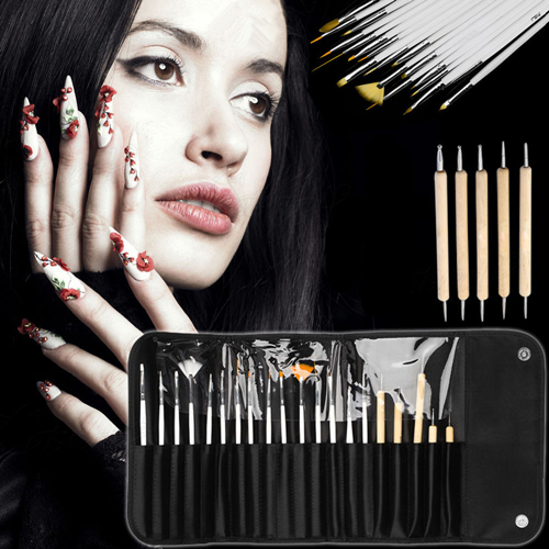 20pcs acrylic nail art design set dotting pen 5pcs and painting drawing polish brush 15pcs brushes nail set manicure pedicure(China (Mainland))
