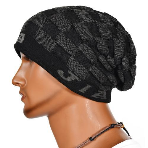 new design cool mens beanies fashionable grid pattern
