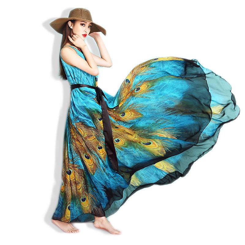 6XL Plus Size Summer Chiffon Vestidos Dresses 5XL Big Large Size Women Maxi Long Sleeveless Beach Dress 4XL 3XL Pinted Clothes