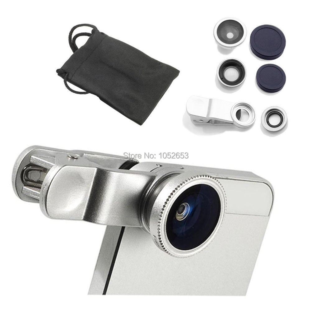 Universal Clip 3in1 Fisheye fish eye Lens + Wide Angle + Macro Mobile Phone Lens photo Kit Set for iPhone 4 4S 5 5S Samsung S4