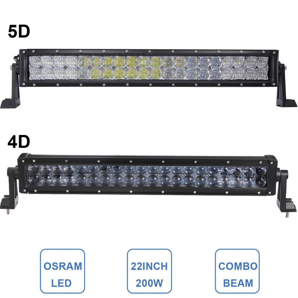 22 Inch OSRAM 200W OFF ROAD 4D 5D LED LIGHT BAR CAR TRUCK ATV SUV BOAT TRAILER YACHT WAGON PICKUP ROOF BUMPER LIGTING HEAD LAMP(China (Mainland))