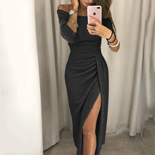 בתוספת גודל מבריק Bodycon שמלת נשים סקסי כבוי כתף אדום בלינג ארוך המפלגה שמלות אלגנטי Ruched ירך סדק Vestidos S-3XL(China)