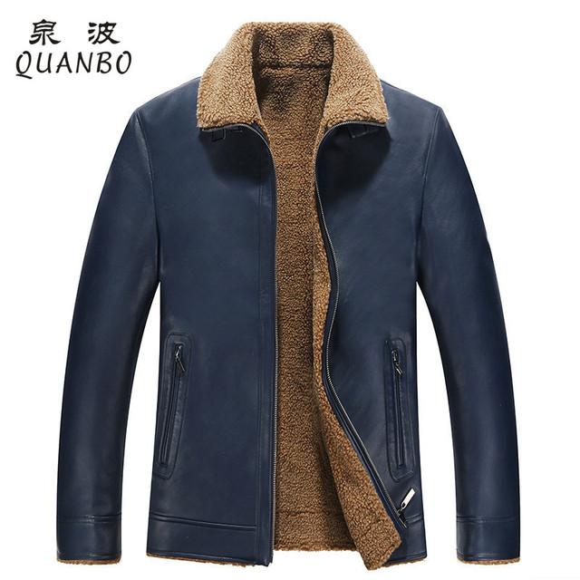 2016 новая зимняя одежда толщиной овчины высокого качества кашемировые пальто теплая куртка кожаная куртка подросток Casaco Masculino