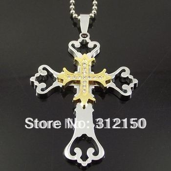 10pcs/lot Wholesale Free Shipping Stainless Steel Double Cross Pendant Stainless Steel Chain Crystal  Big Cross Necklace Pendant