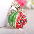 Esmalte Enamel Watermelon Brooches Hijab Pins Scarf Buckle Clips Luxurious Rhinestone Full Crystals Broches Fruit Accessories