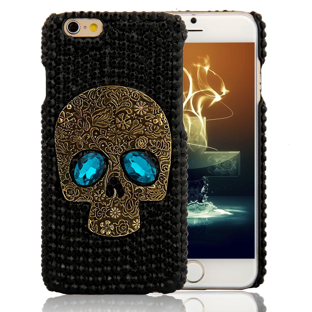 Handmade Diamond Metal saphire eye Skull back Cover phone case for Iphone 5 5s 6 6