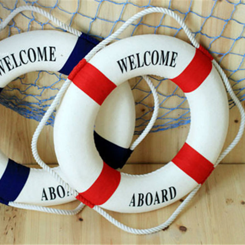 Umiwe 3 Size Navy Style Lifebuoy Nautical Welcome Aboard Sign In Home Decor Decorative Life Ring Room Bar Home Decoration(China (Mainland))
