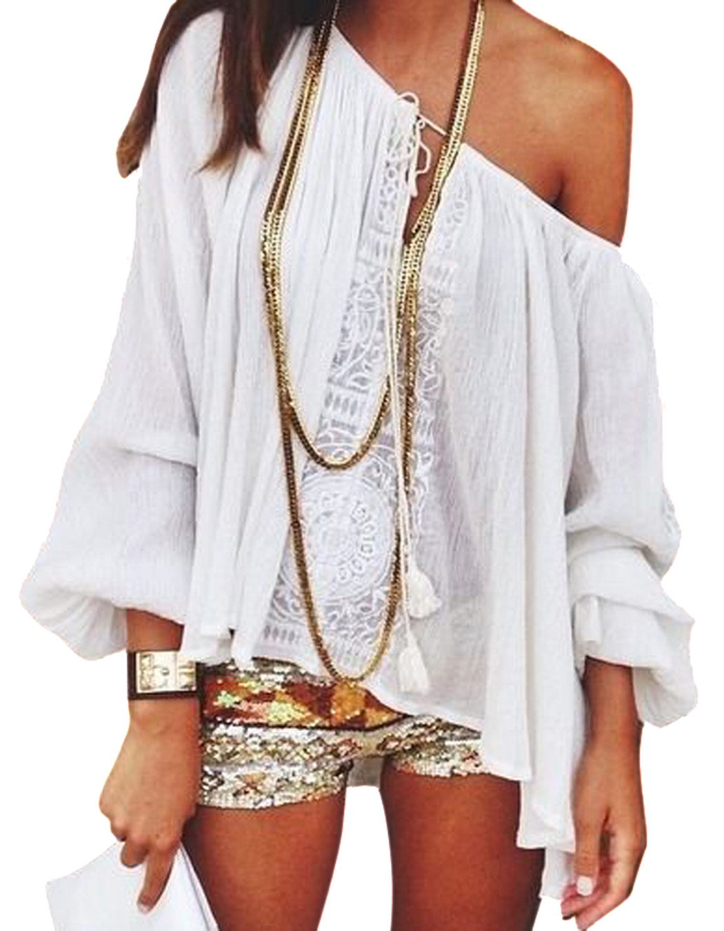 Women Lace Blusas Casual Loose Elegant T Shirt Long Sleeve Crochet