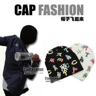 Male cottiers logo hiphop multicolour knitted winter hat knitted hat winter hat