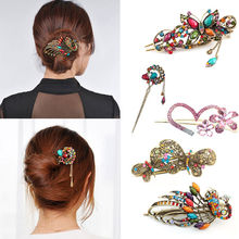 1 X Women Ladies Colorful Women Retro Crystal Butterfly Flower Hairpins Hair Stick Hair Clip Hair Accessories(China (Mainland))