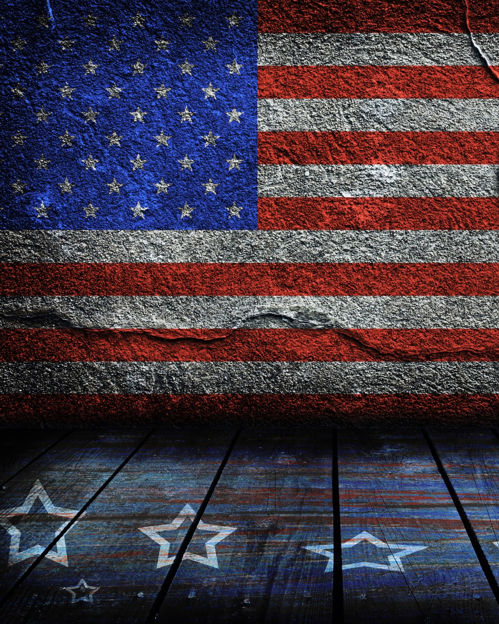 send rolled ! 8'X10' Dark Concrete Wall Backdrop - USA Flag, Patriotic 4th July Printed Fabric Photography Background G0577
