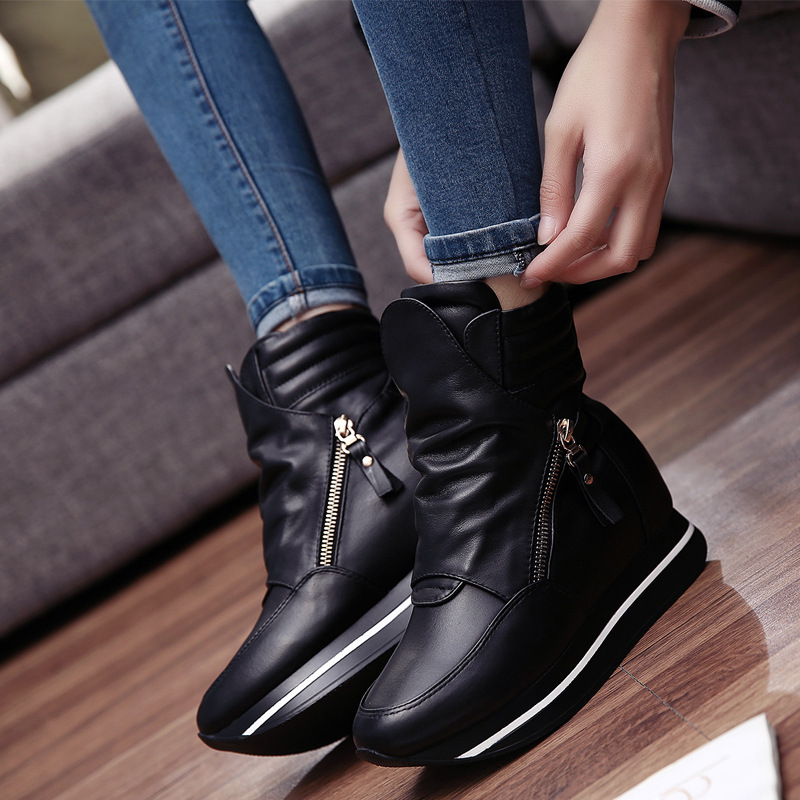 New 2016 Spring and Autumn Fashion Shoes Women's High Help Genuine Leather Shoes Ladies Plus Size Wedge Leisure Shoes Zipper