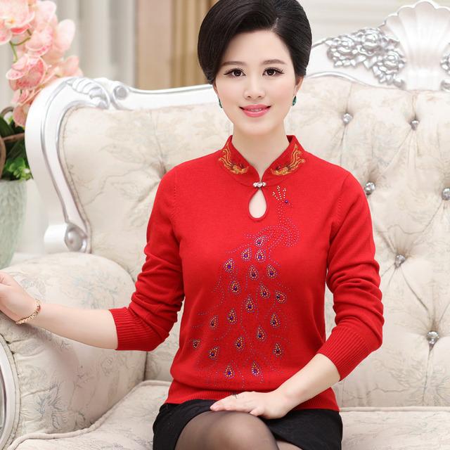 Новый 2015 женщин среднего возраста матери свитер Hitz большой размер S-XXXL свитера ...
