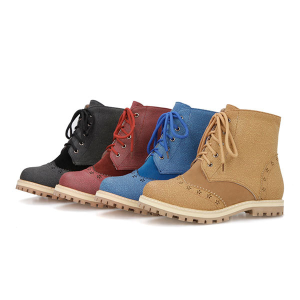 2015 Spring/Autumn New comfortable lace-up ankle boots round toe women boots casual solid color ankle boots Size31-52 D3242<br><br>Aliexpress