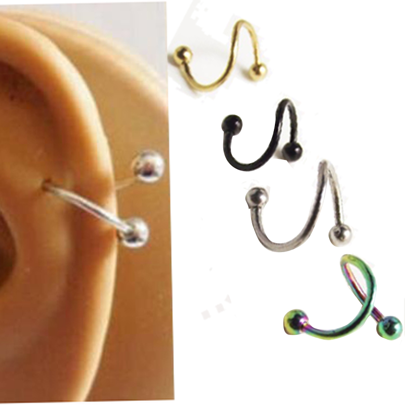2pcs free shipping s labret ring surgical stainless steel bar spiral twister tragus ear piercing. Black Bedroom Furniture Sets. Home Design Ideas