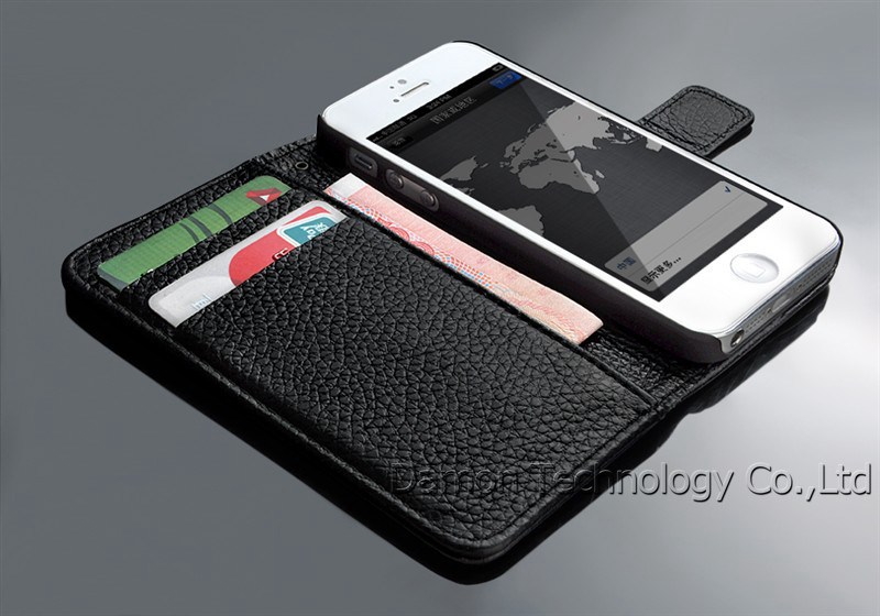 Luxury Genuine Leather Cell Phones Case For Apple iPhone 5 5S Filp Stand with card holes For i Phone 5 5S Phone Cases Bags