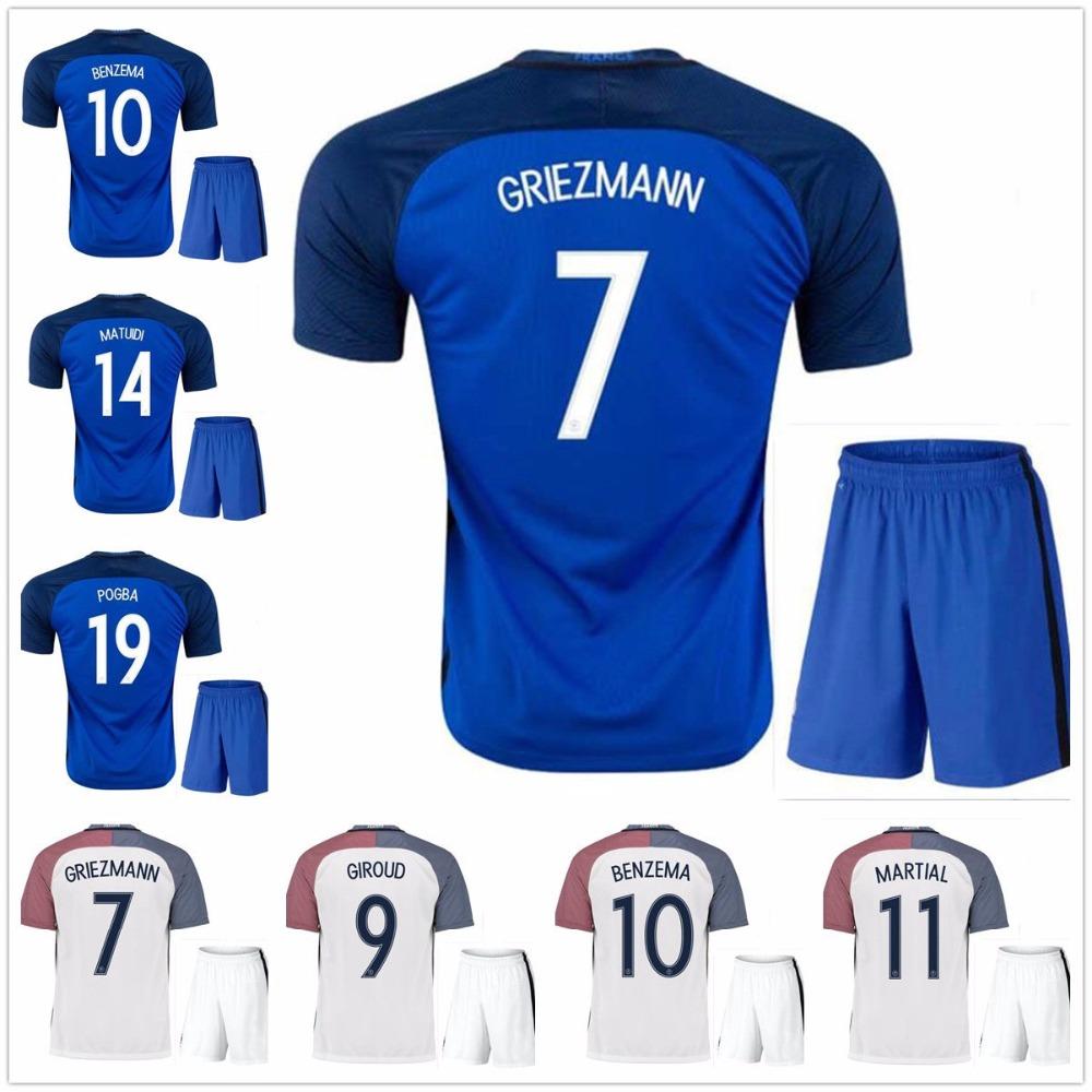best quality 2016 Euro Cup Soccer Jersey kits France 2017 Ribery Zidane Benzema Griezmann Pogba Henry Football Shirts(China (Mainland))