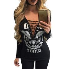 Buy Women Printed T-Shirt 2017 Ladies Tops Tees V-Neck Lace Long Sleeve T-Shirts Female Fashion Women Clothing Plus Size LJ7380X for $12.13 in AliExpress store