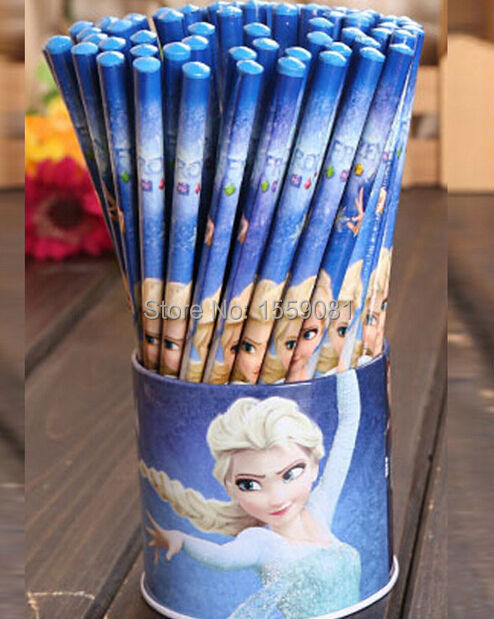 Гаджет  72pcs/lot with pen case cartoon Anna Elsa student Stationery office school standard supplier wooden HB Pencils set NO eraser None Офисные и Школьные принадлежности