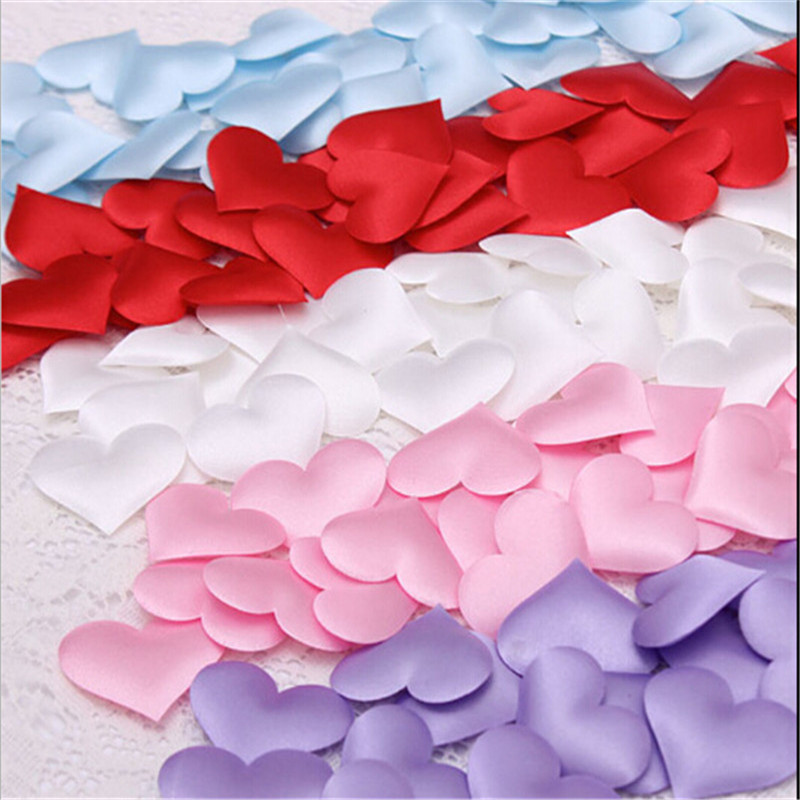 cheap ! 50pcs/lots Heart fabric 2cm Wedding Party Confetti Table Decoration birthday party Decorative Supplies(China (Mainland))