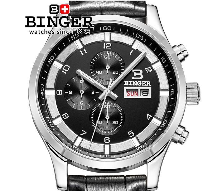 Switzerland watches men luxury brand Wristwatches BINGER Quartz full stainless leather strap steel waterproof 300M BG-0403-6(China (Mainland))