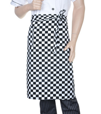 New Half Waist Cooking Bib Apron (Black and white plaid ) Waiter Butcher Brown Chefs Cafe Kitchen(China (Mainland))