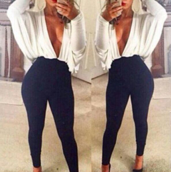 женщины глубокий v комбинезон vestidos секс моды плюс размер общей Ромпер Комбинезоны брюки падение судоходство a201