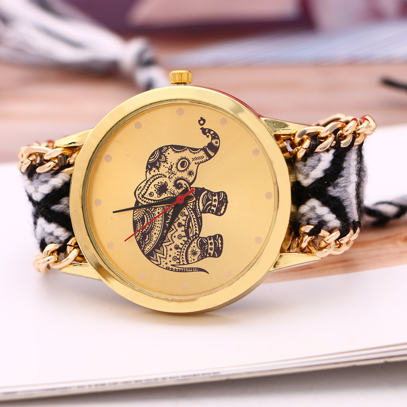 2015 New fashion national wind Elephant pattern exquisite handmade woven women dress watch bracelets quartz men
