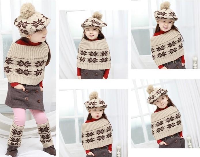 F07224 тёплый трикотаж шерстяная ткань снег узор костюм шаль и кепка и носки beige лучший подарок для дети малыш + сша