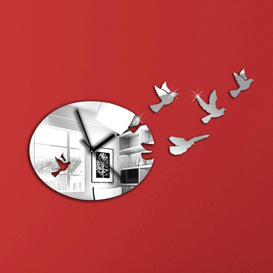 2015 new acrylic mirror diy wall clock Modern design 3d ...