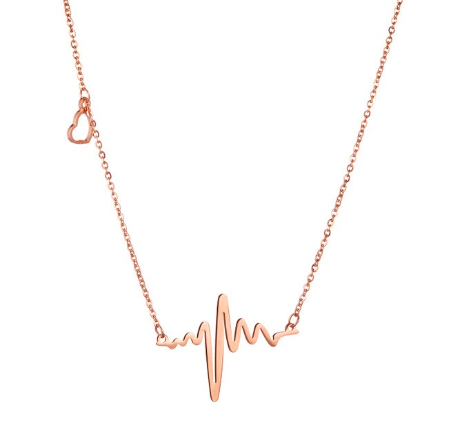 316L Stainless Steel Valentine's Day Heart Beat Pendant Heartbeat Statement Necklace Body Chain Stainless Steel Necklace xl016(China (Mainland))