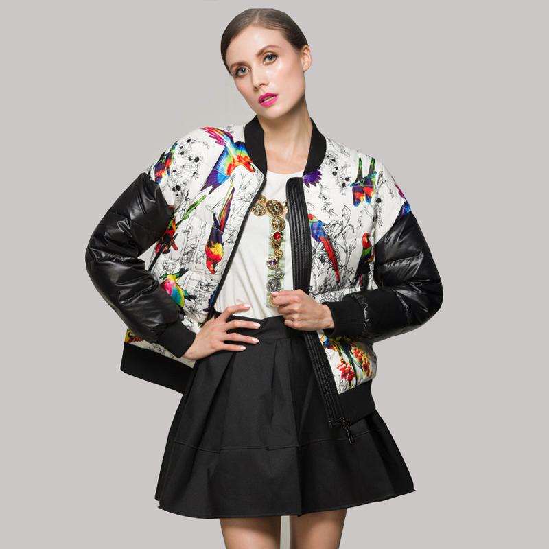 Здесь можно купить  2015  New European Floral Print Patchwork Winter Jacket Warm Duck Down Baseball Jackets Women Short  High Quality Coat JY-1080  Одежда и аксессуары