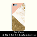 gold marble collage Hard White Skin Case Cover for iPhone 4 4s 5 5s 5g