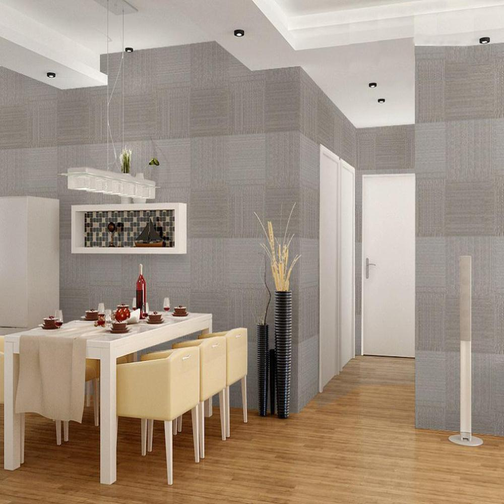 Square solid embossed wallpaper modern design dining room for Modern wallpaper designs for dining room