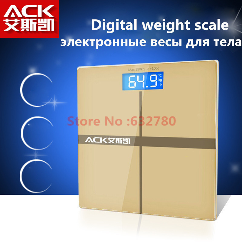 Brand ACK Electronic digital body scale weighing weight scale health led display with thermometer toughened glass balance(China (Mainland))