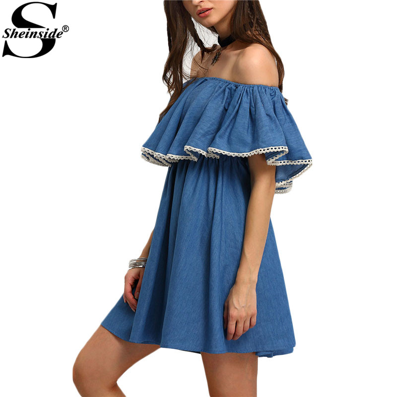 Sheinside Woman Off The Shoulder Ruffle Swing Dresses Summer Style Casual Ladies Cute New Arrival Denim Blue Mini Dress(China (Mainland))