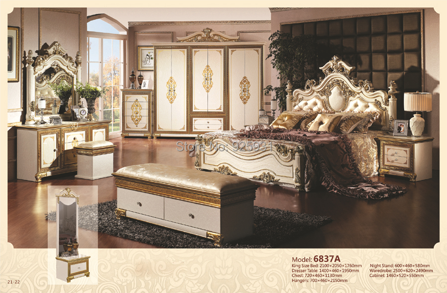 Luxury bedrom euro desgine bedroom furniture 7 for King size headboard and dresser set
